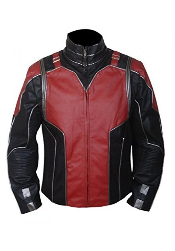 Ant Man Leather Jacket- Red & Black - Flesh Jacket