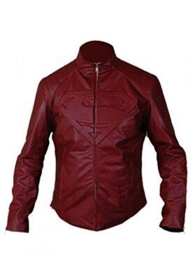 Man Of Steel Superman Leather Jacket Maroon & Black Flesh Jacket