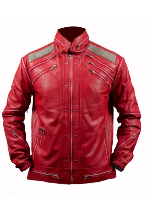 Michael Jackson Red Beat It Leather Jacket Flesh Jacket