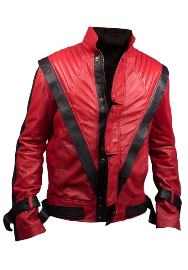 Michael Jackson Thriller Red Leather Jacket Flesh Jacket