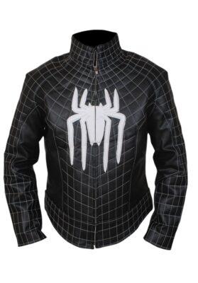 The Amazing Spiderman White Logo Leather Jacket With Padded