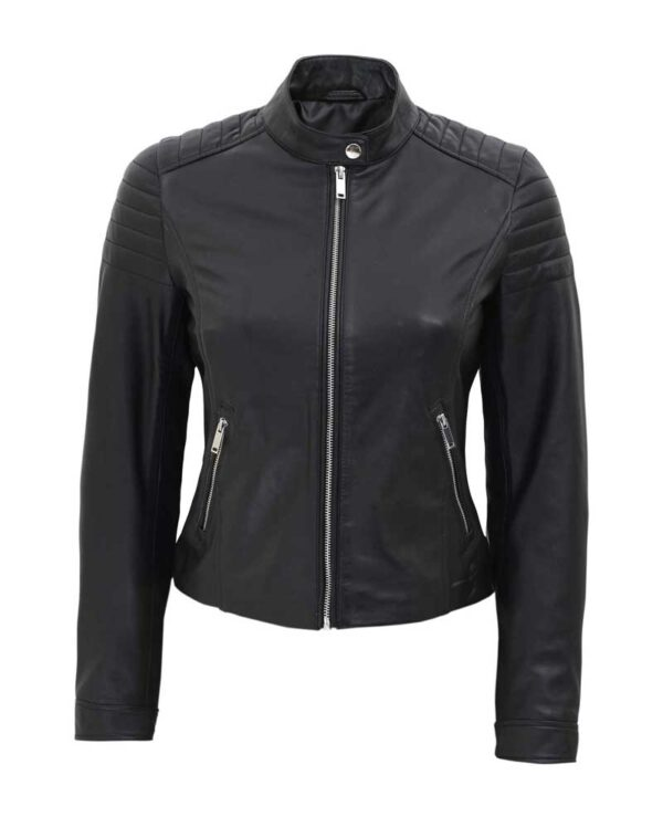 Carrie Womens Black Slim Fit Leather Jacket