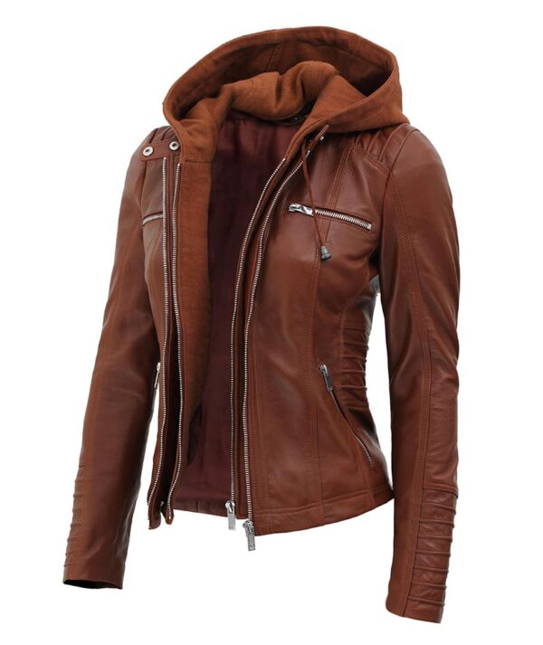 Womens Brown Cafe Racer Leather Jacket