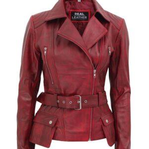 Victoria Maroon Leather Biker Jacket Women